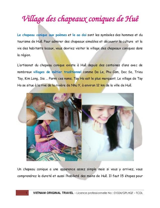 1 VIETNAM ORIGINAL TRAVEL – Licence professionnelle No : 01024/GPLHQT – TCDL Village des chapeaux coniques de Huê Le chape...