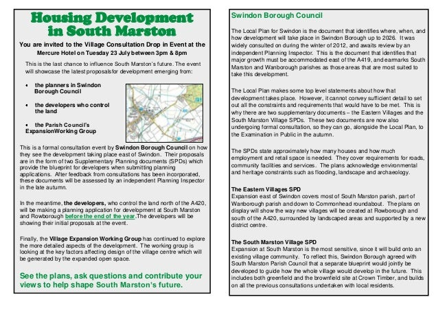 Housing Development in South Marston You are invited to the Village Consultation Drop in Event at the Mercure Hotel on Tue...