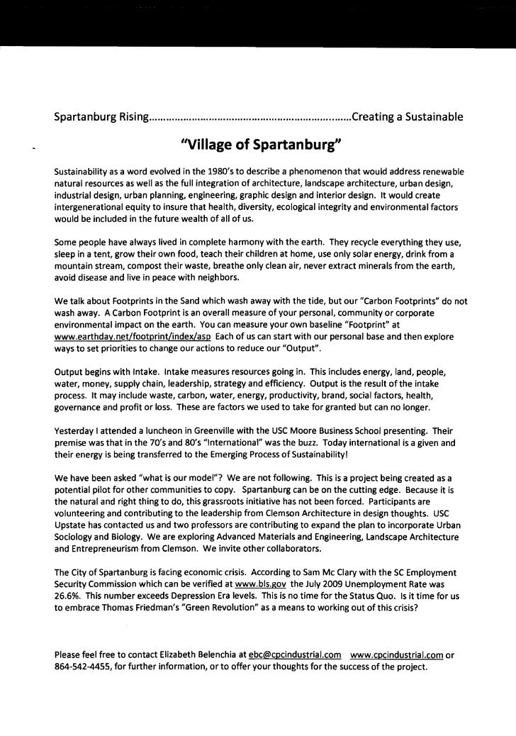 Spartanburg Rising .......................................................................Creating a Sustainable          ...