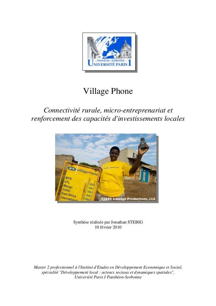 Village Phone    Connectivité rurale, micro-entreprenariat etrenforcement des capacités dinvestissements locales          ...