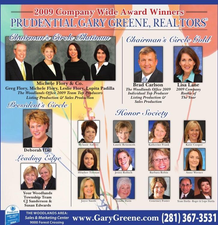 2009 Company Wide Award Winners   Prudential Gary Greene, realtorS                                                        ...