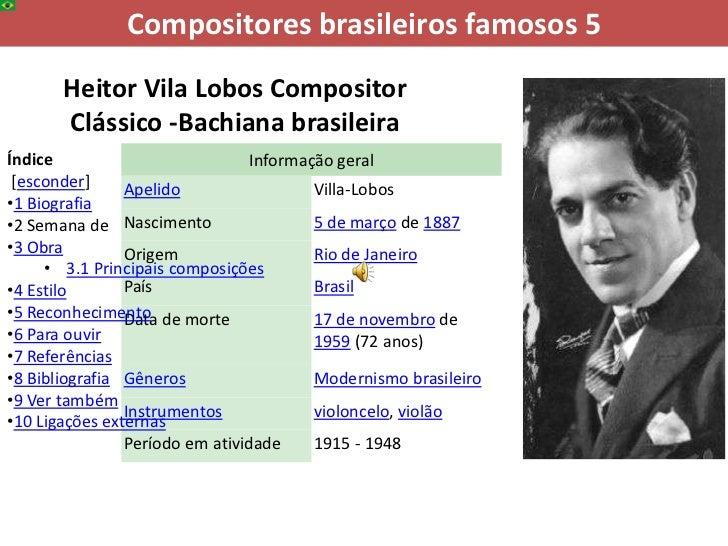 Compositores brasileiros famosos 5       Heitor Vila Lobos Compositor       Clássico -Bachiana brasileiraÍndice           ...