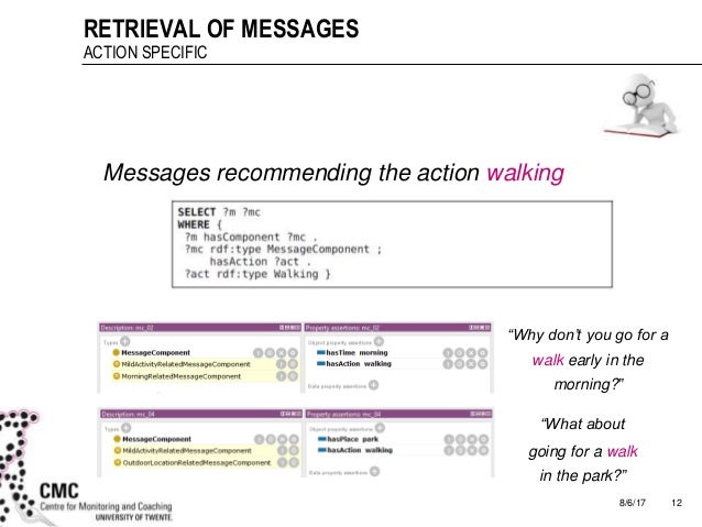 """8/6/17 12 RETRIEVAL OF MESSAGES ACTION SPECIFIC Messages recommending the action walking """"Why don't you go for a walk earl..."""