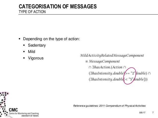 8/6/17 7 CATEGORISATION OF MESSAGES TYPE OF ACTION  Depending on the type of action:  Sedentary  Mild  Vigorous Refere...