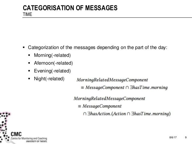 8/6/17 9 CATEGORISATION OF MESSAGES TIME  Categorization of the messages depending on the part of the day:  Morning(-rel...