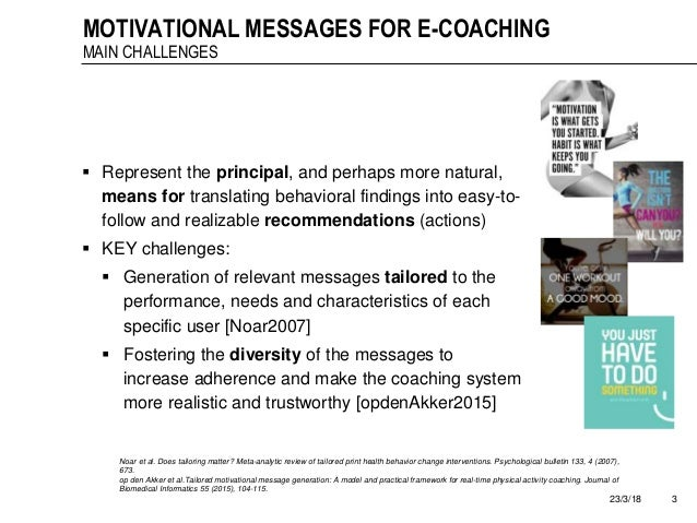 Automatic mapping of motivational text messages into ontological entities for smart coaching applications Slide 3