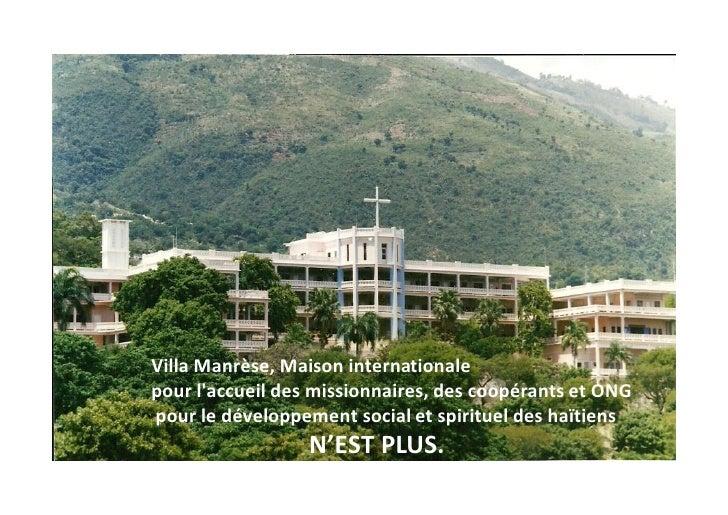 Villa Manrèse, Maison internationale pour l'accueil des missionnaires, des coopérants et ONG pour le développement social ...