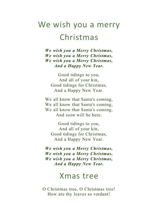 We Wish You A Merry Christmas Kids Lyrics