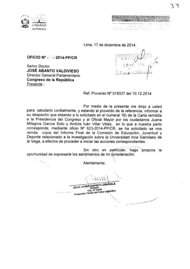 "¿nn J   , _ .  ,. ,,_ «.1.   'ÉQNQRE5Q REPÚBLICA  OFICIO N°  ""2- 2014-PPICR  Señor Doctor JOSE ABANTO VALDIVIESO Director ..."