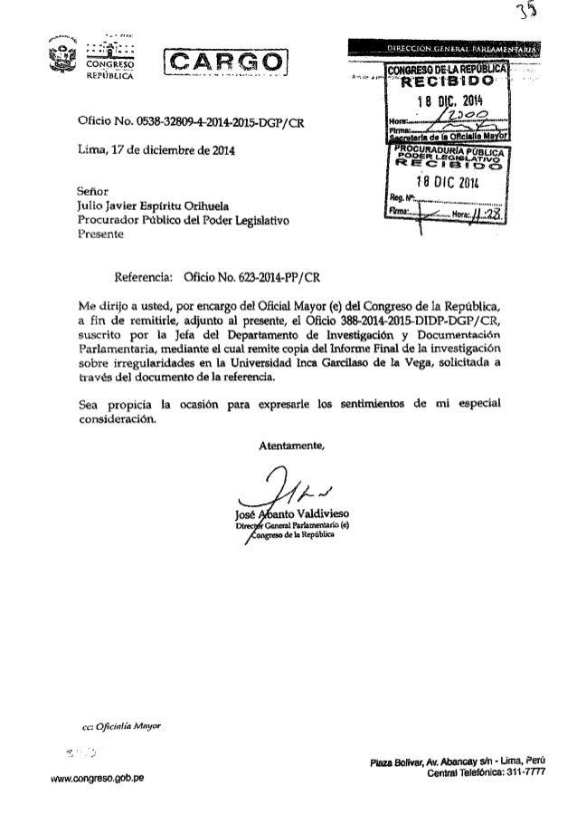 1 8 DIC.  2014  30 .      Oficio No.  0538-32809-4-2014-2015-DGP/ CR  Lima,  17 de diciembre de 2014  Señor  julio Javier ...