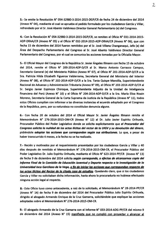 """3.- Se emite la Resolución N' O54—32980-3-2014—2015-DGP/ CR de fecha 24 de diciembre del 2014 (Anexo N"""" O4),  mediante el ..."""