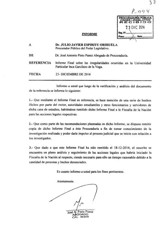 Ï nen LEGVBLATiVO '- Ésczeanoo  INF!  ¿BME  A Dr.  JULIO JAVIER ESPIRITU ORIHUELA Procurador Público del Poder Legislativo...