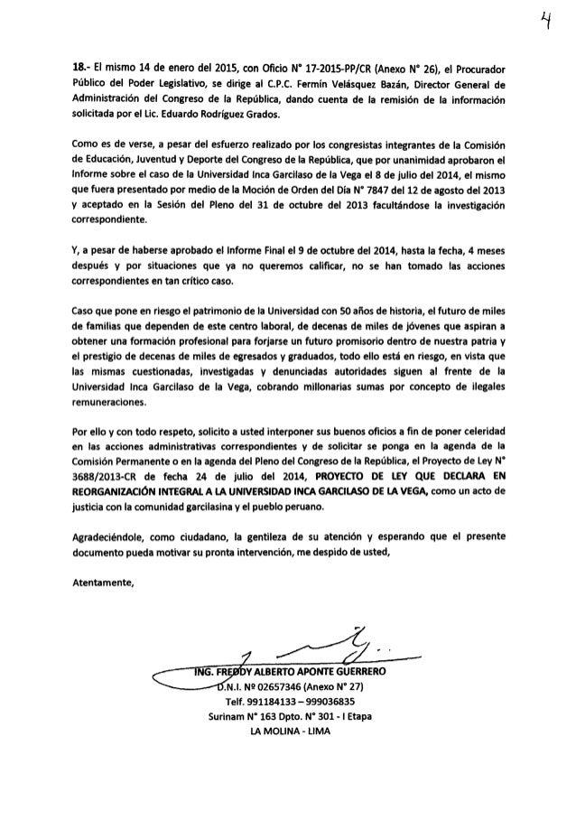 18.- El mismo 14 de enero del 2015, con Oficio N' 17-2015-PP/ CR (Anexo N° 26),  el Procurador Público del Poder Legislativ...