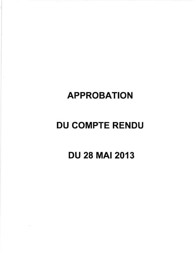 APPROBATIONDU COMPTE RENDUDU 28 MAr 201 3