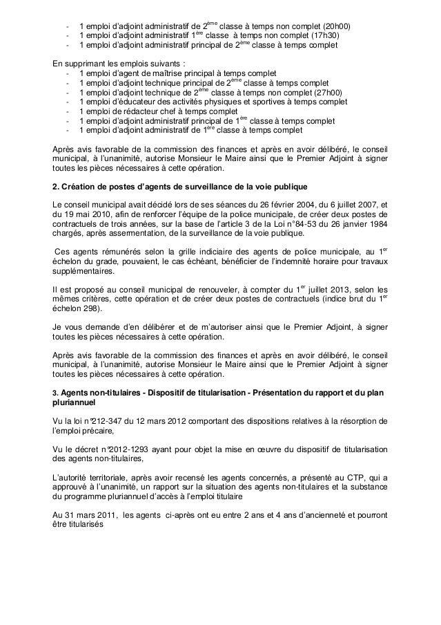 Ville de clermont compte rendu cm du 6 mars 2013 - Grille indiciaire adjoint principal 1ere classe ...