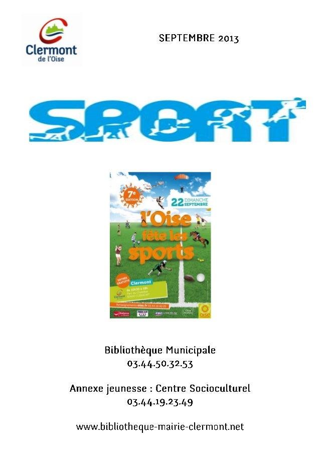 Ville de Clermont - Bibliothèque - bibliographie sport - sélection septembre 2013