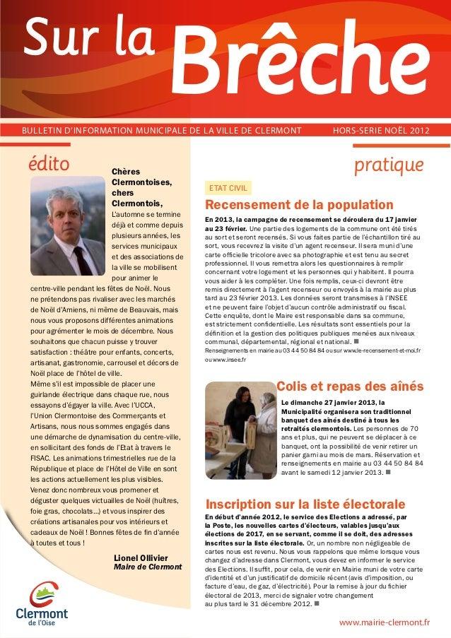 Sur laBULLETIN D'INFORMATION MUNICIPALE DE LA VILLE DE CLERMONT                                         HORS-SERIE NOËL 20...