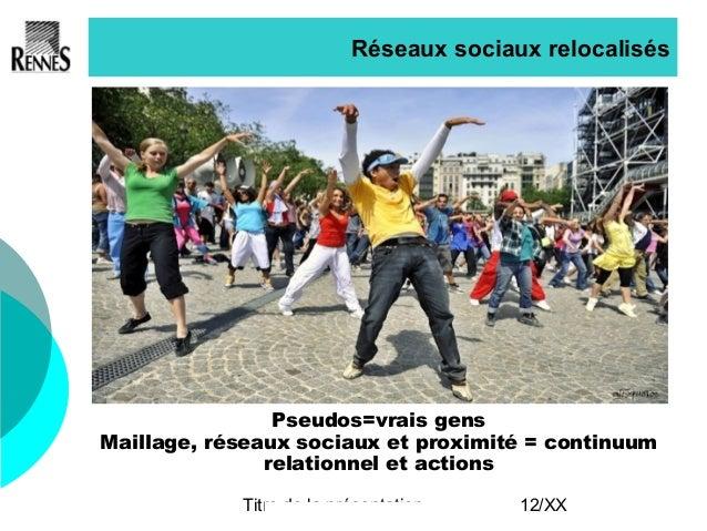 Titre de la présentation 12/XX Réseaux sociaux relocalisés Pseudos=vrais gens Maillage, réseaux sociaux et proximité = con...