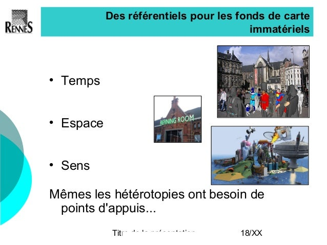 Titre de la présentation 18/XX Des référentiels pour les fonds de carte immatériels  Temps  Espace  Sens Mêmes les hété...