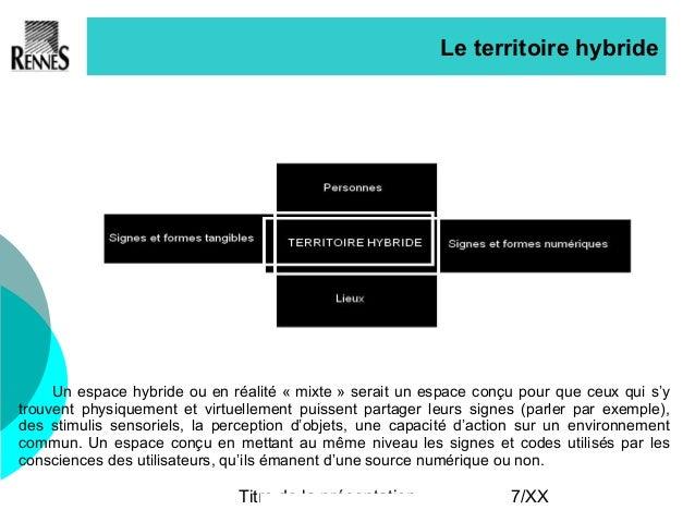 Titre de la présentation 7/XX Le territoire hybride Un espace hybride ou en réalité « mixte » serait un espace conçu pour ...