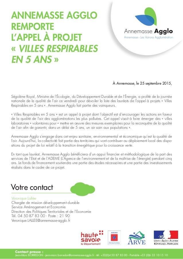 Annemasse Agglo remporte l'appel à projet « villes respirables en 5 ans » Contact presse : Jean-Marc BORREDON - jean-marc....