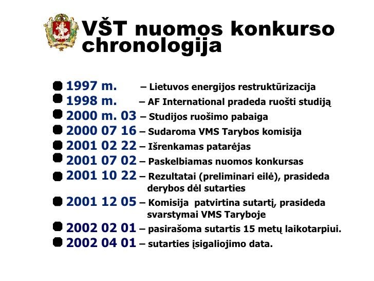 VŠT nuomos konkurso chronologija 1997 m.   – Lietuvos energijos restruktūrizacija 1998 m.  – AF International pradeda ruoš...