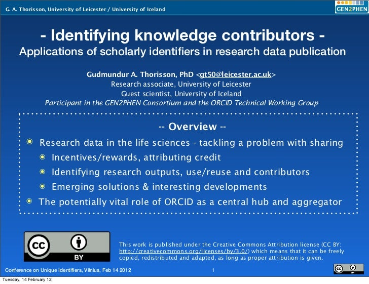G. A. Thorisson, University of Leicester / University of Iceland                 - Identifying knowledge contributors -   ...