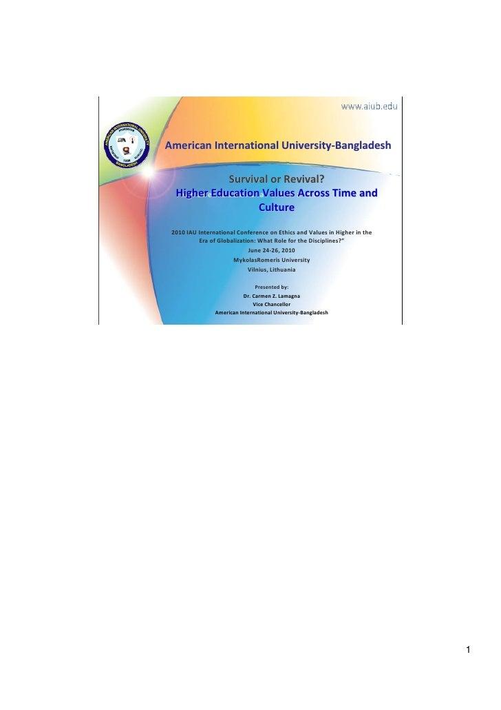 AmericanInternationalUniversity‐Bangladesh                   SurvivalorRevival?  HigherEducationValuesAcrossTimea...