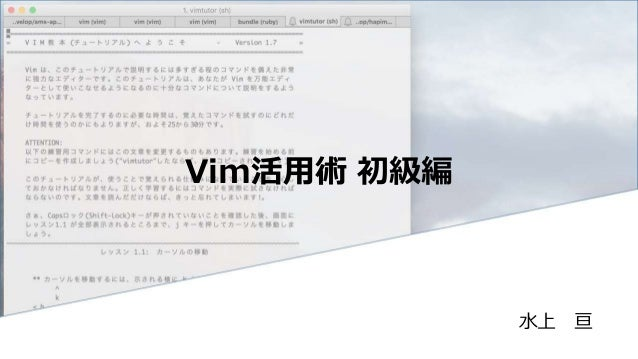 Vim活用術 初級編 水上 亘
