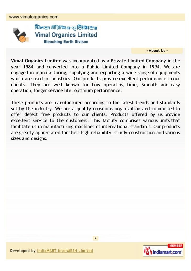 Vimal Organics Limited, Ghaziabad, Turnkey Projects Slide 2