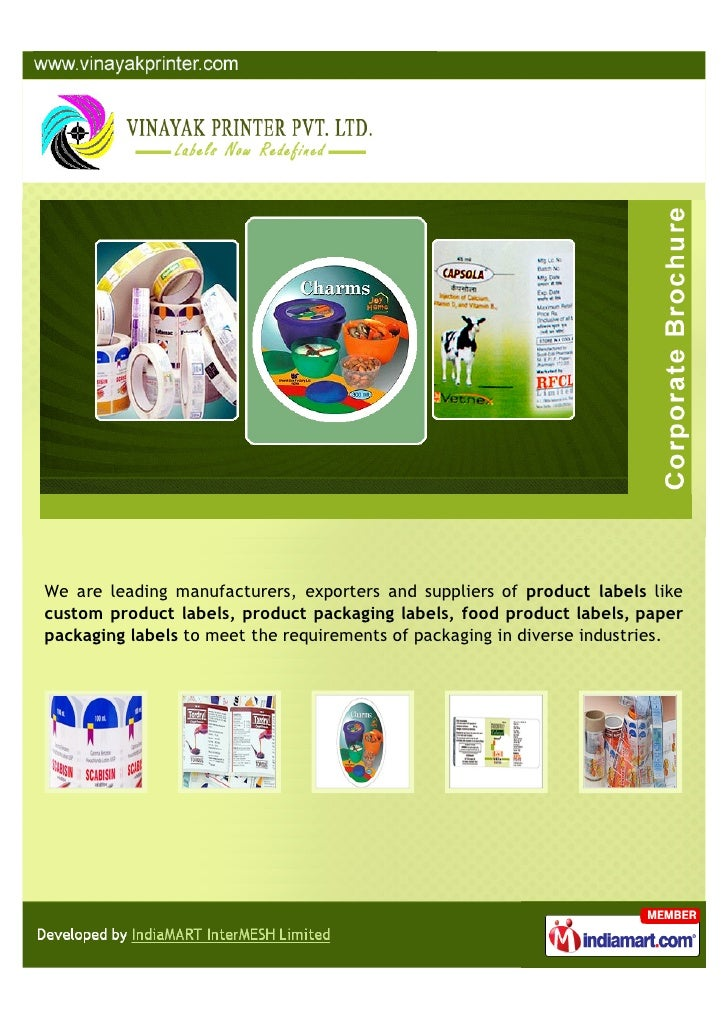 We are leading manufacturers, exporters and suppliers of product labels likecustom product labels, product packaging label...
