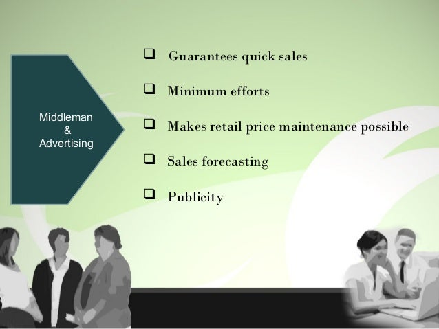 Sales-force & Advertising  Facilitates selling  Reduces sales-man's burden of job Instills self confidence