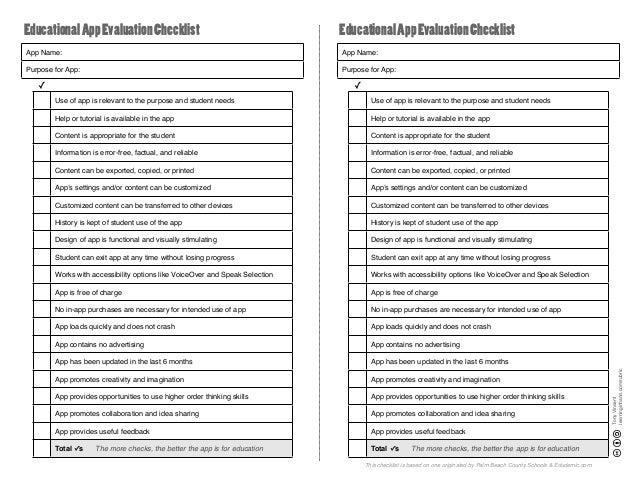 Educational App Evaluation Checklist  Educational App Evaluation Checklist  App Name:  App Name:  Purpose for App:  Purpos...