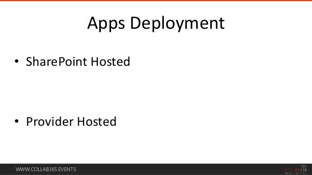 WWW.COLLAB365.EVENTS • SharePoint Hosted • Provider Hosted Apps Deployment