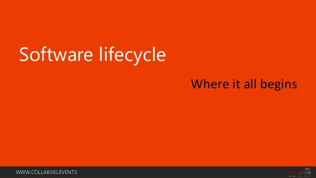 WWW.COLLAB365.EVENTS Software lifecycle Where it all begins