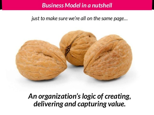 Business Model in a nutshell An organization's logic of creating,  delivering and capturing value. just to make sure we'r...
