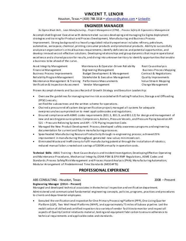 vincent lenoir engineering executive resume 2016 vincent t lenoir houston texas 419 7883318 vtlenoiryahoo