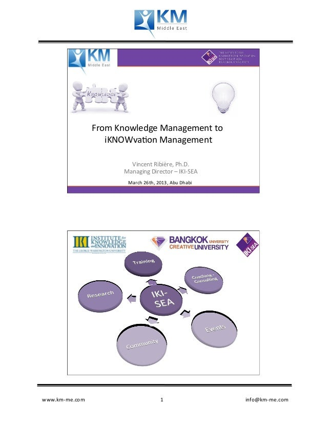 From Knowledge Management to                      iKNOWva�on Management                    ...