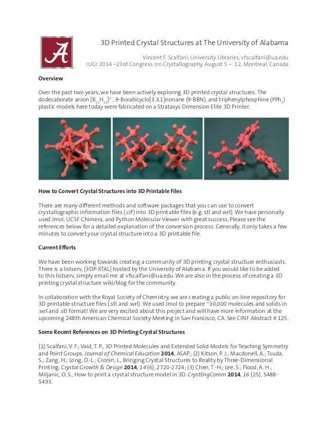 3D Printed Crystal Structures at The University of Alabama  Vincent F. Scalfani, University Libraries, vfscalfani@ua.edu...