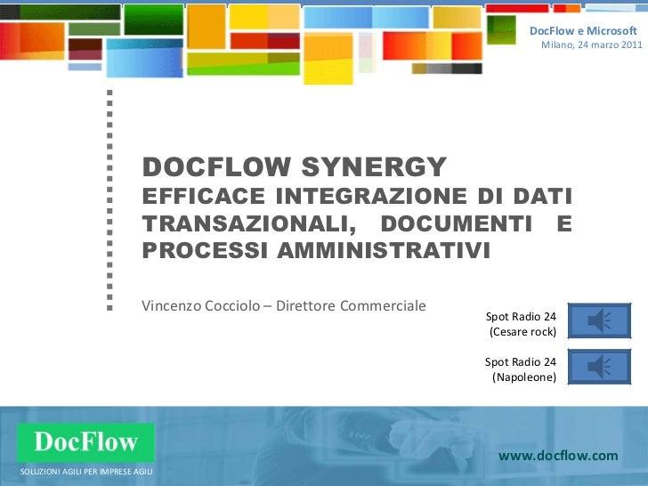 DOCFLOW SYNERGY EFFICACE INTEGRAZIONE DI DATI TRANSAZIONALI, DOCUMENTI E PROCESSI AMMINISTRATIVI Vincenzo Cocciolo – Diret...