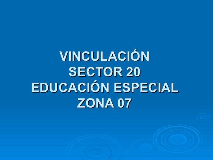 VINCULACIÓN SECTOR 20 EDUCACIÓN ESPECIAL ZONA 07