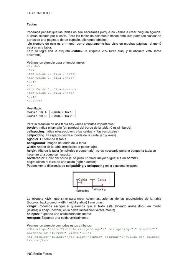 LABORATORIO II ING Emilio Flores Tablas Podemos pensar que las tablas no son necesarias porque no vamos a crear ninguna ag...