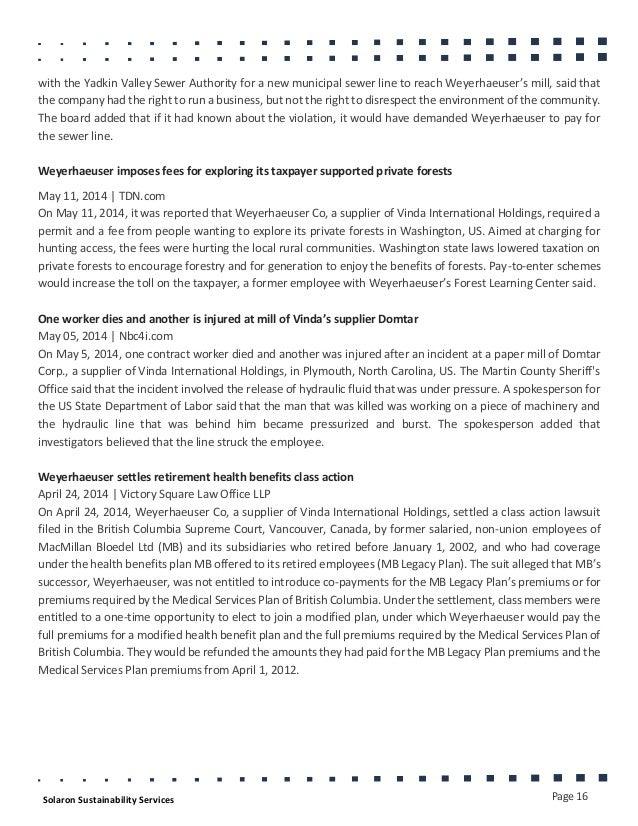 Vinda International supply chain risks - Jan 2015
