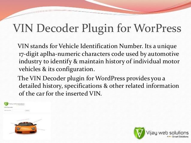 Vin Decoder Plugin For Wordpress
