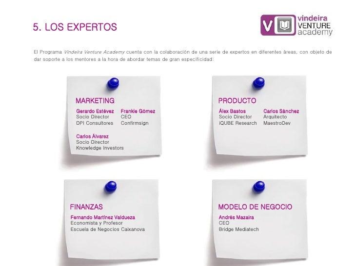 5. LOS EXPERTOSEl Programa Vindeira Venture Academy cuenta con la colaboración de una serie de expertos en diferentes área...