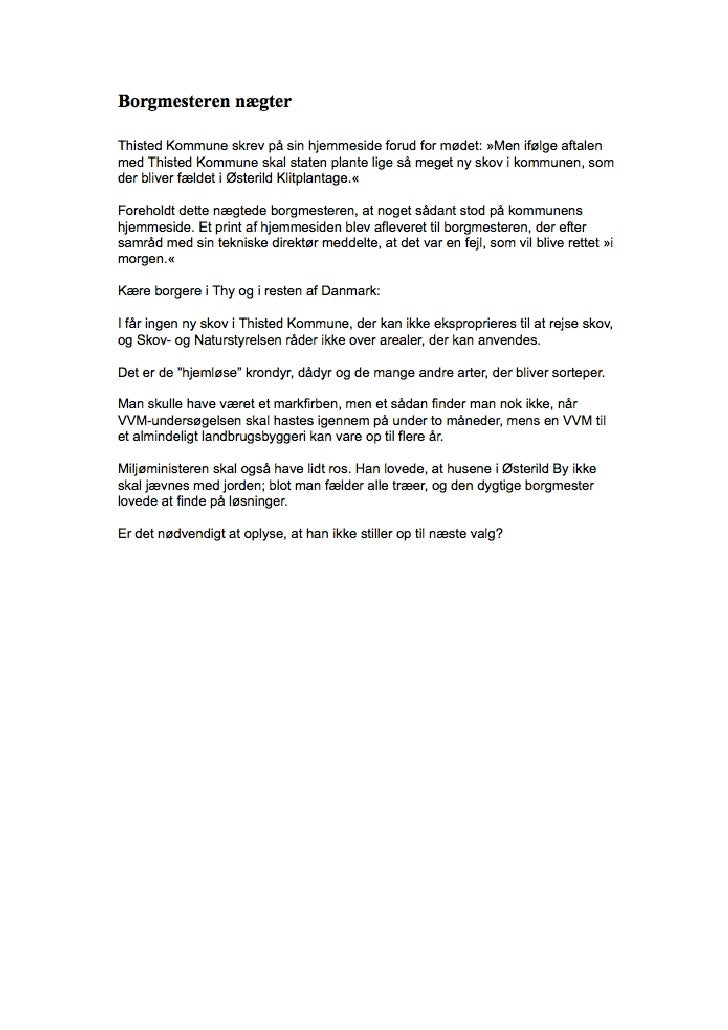 """02.11.2009, Hans Melgaard: """"Vindmøllen og kronhjorten"""" Jyllands Posten"""