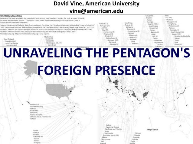 David Vine, American University            vine@american.eduUNRAVELING THE PENTAGONS    FOREIGN PRESENCE