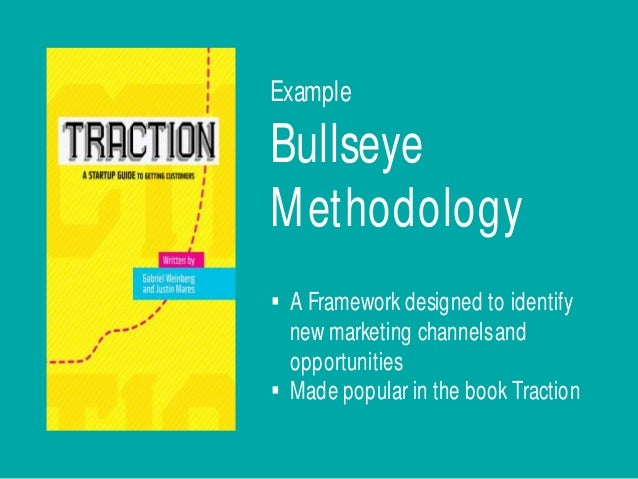 Bullseye Methodology § A Framework designed to identify new marketing channelsand opportunities § Made popular in the book...