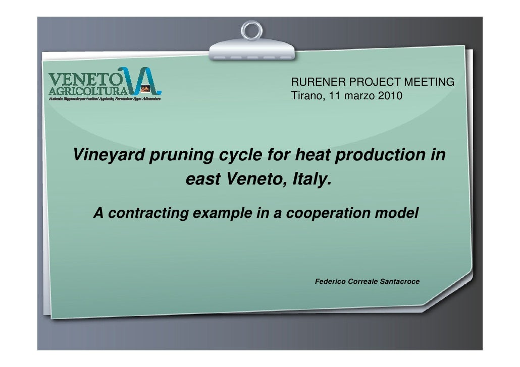 RURENER PROJECT MEETING                             Tirano, 11 marzo 2010     Vineyard pruning cycle for heat production i...