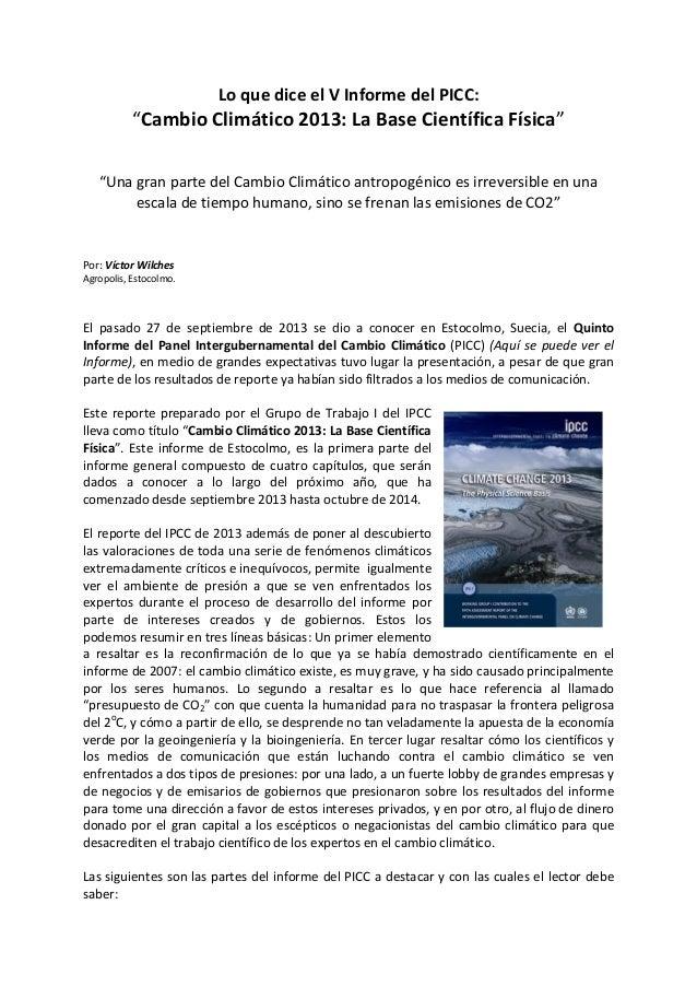 """Lo que dice el V Informe del PICC: """"Cambio Climático 2013: La Base Científica Física"""" """"Una gran parte del Cambio Climático..."""